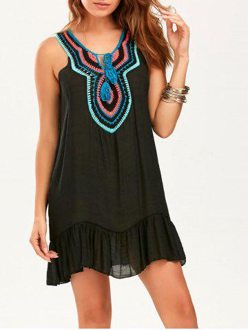 Affordable Crochet Collar Sleeveless Drop Waist Tunic Dress - ONE SIZE BLACK Mobile