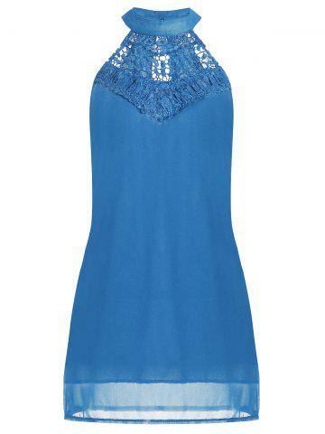 Trendy Crochet Lace Panel Cut Out Sleeveless Dress - 2XL WINDSOR BLUE Mobile