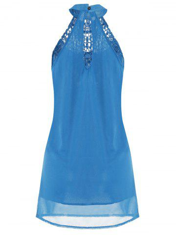 Buy Crochet Lace Panel Cut Out Sleeveless Dress - 2XL WINDSOR BLUE Mobile