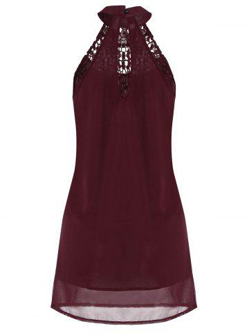 Fancy Crochet Lace Panel Cut Out Sleeveless Dress - 2XL WINE RED Mobile