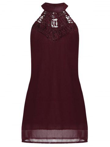 Affordable Crochet Lace Panel Cut Out Sleeveless Dress - 2XL WINE RED Mobile