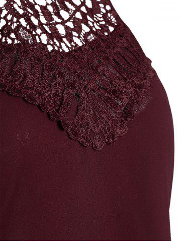 Store Crochet Lace Panel Cut Out Sleeveless Dress - 2XL WINE RED Mobile