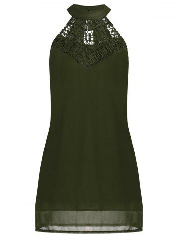Chic Crochet Lace Panel Cut Out Sleeveless Dress - 2XL ARMY GREEN Mobile