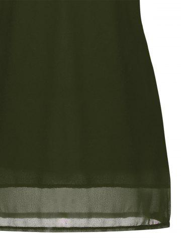 New Crochet Lace Panel Cut Out Sleeveless Dress - 2XL ARMY GREEN Mobile