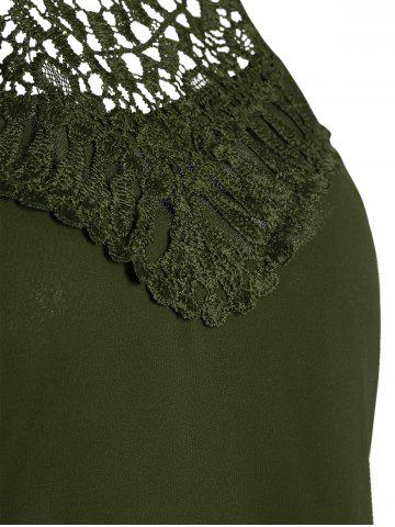 Outfits Crochet Lace Panel Cut Out Sleeveless Dress - 2XL ARMY GREEN Mobile