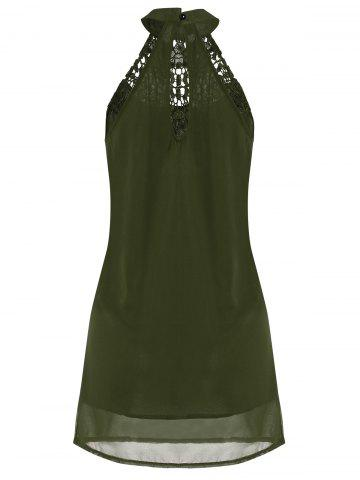 Latest Crochet Lace Panel Cut Out Sleeveless Dress - 2XL ARMY GREEN Mobile