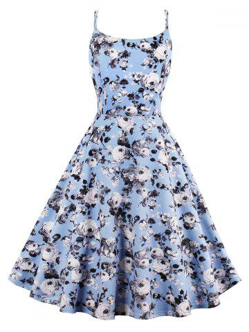 Outfit Roses Print High Waist Flare Sun Dress LIGHT BLUE 2XL