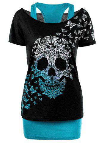 Skull Butterfly T-shirt with Tank Top - Lake Blue + Black - M