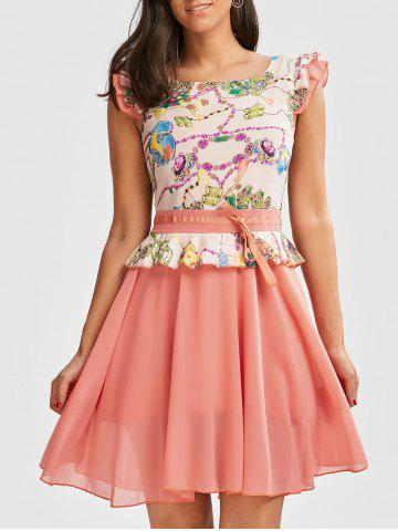 Shop Printed Ruffle Chiffon Dress PINK L