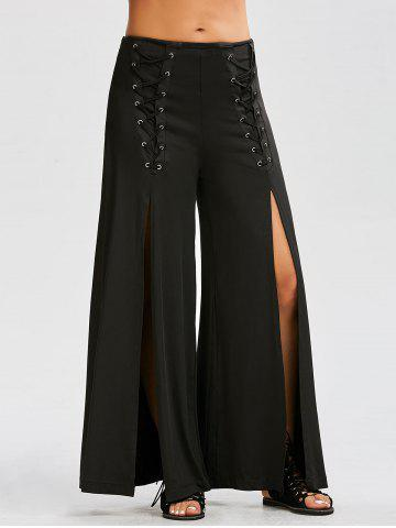 High Slit Lace Up Wide Leg Pants