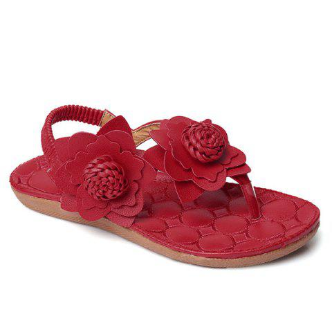 Affordable Elastic Band Flowers Faux Leather Sandals