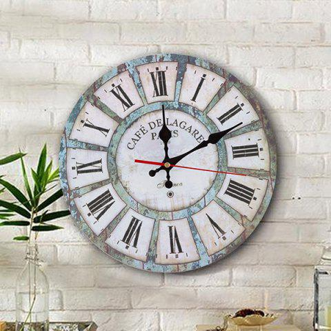 Unique Vintage Wood Analog Round Living Room Wall Clock WHITE 50*50CM