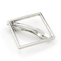Chic Solid Color Hollow Out Square Hairpin For Women - SILVER