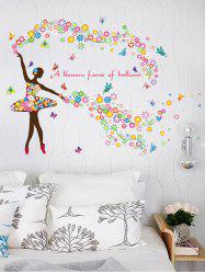 Dancing Girl Quotes Floral Butterfly Wall Sticker