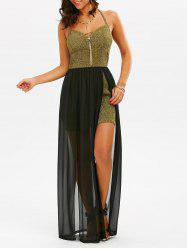 Backless Halter High Split Maxi Glitter Dress