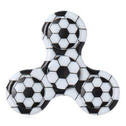 Fiddle Toy Plastic Tri-bar Soccer Patterned Fidget Spinner - BLACK WHITE
