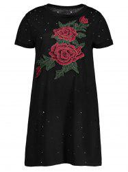 Distressed Floral Embroidered Mini Tee Dress