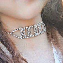 Letter Rhinestoned Hollow Out Choker Necklace