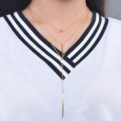 Layered Bar Bead Pendant Necklace - GOLDEN
