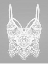 Lace Sheer Crop Top Cami Bra - WHITE