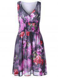 Plus Size  Empire Waist Floral Chiffon V Neck Dress