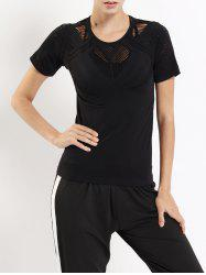 Hollow Out Round Neck Gym T-shirt