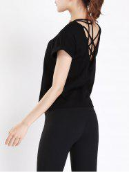 Back Criss Cross Caged Gym Active T-shirt