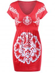 Robe imprimée florale tribale Empire Waist Mini Tribal - Carmine
