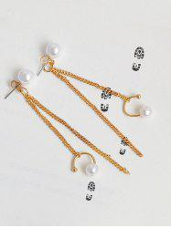 Faux Pearl Fringed Chain Front Back Earrings