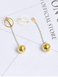 Circle Metal Ball Front Back Chain Earrings