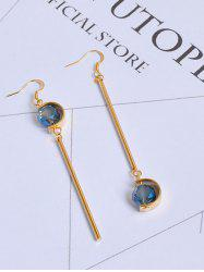 Artificial Sapphire Bar Ball Hook Earrings