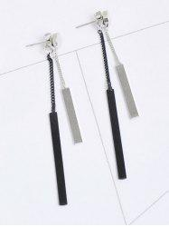 Alloy Bar Front Back Chain Earrings