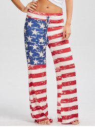 Drawstring American Flag Print Patriotic Pants - RED