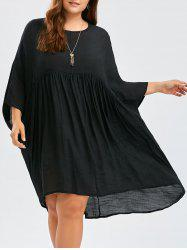 Plus Size Dolman Sleeve High Low Smock Dress - BLACK