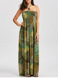 Halter Printed Shirred Dress with Accessory Design - COLORMIX