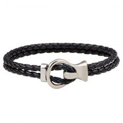 Braided Hook Faux Leather Bracelet
