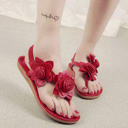 Elastic Band Flowers Faux Leather Sandals - RED