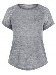 Raglan Sleeve Pocket Lace Insert Tee