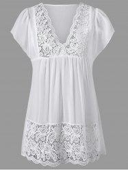 Lace Panel Cutwork Smock Blouse - WHITE