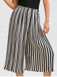 Pleated Chiffon Striped Wide Leg Crop Pants