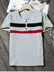 Striped Button Notch Neck Tee