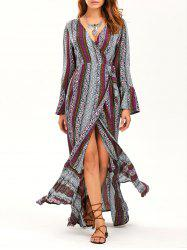Bohemian Print Flared Sleeve Wrap Maxi Dress