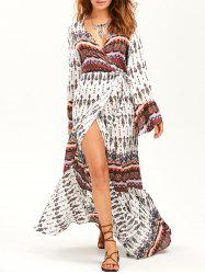 Bohemian Long Sleeve Wrap Maxi Flowy Dress - WHITE