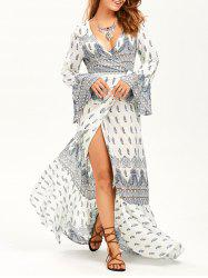 Paisley Print Long Sleeve Slit Maxi Wrap Dress - WHITE