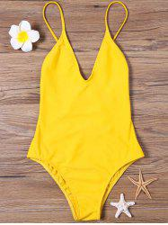 High Cut Backless One Piece Swimwear - Jaune