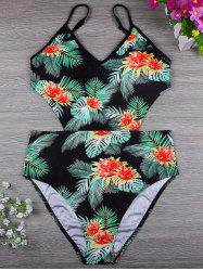 Palm Leaf Print High Waisted Swimsuit