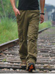 Front Pocket Straight Leg Cargo Pants - ARMY GREEN