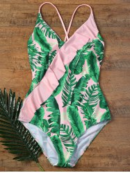 Backless Ruffles One Piece Palm Leaf Swimsuit
