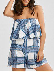 Flounce Plaid Tube Romper - Blanc