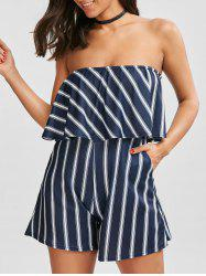 Flounce Striped Tube Romper - BLUE AND WHITE